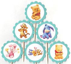 Baby Winnie the Pooh and friends Cupcake Toppers Birthday Party Decorations Set of 12 Tigger Eeyore Piglet too on Etsy, $9.00