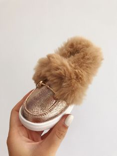 2f66df8e89a Itty Bitty Champagne Gold Fur Loafers