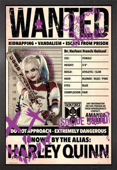 Suicide Squad Harley Wanted Framed Maxi Poster