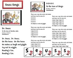 Dr. Seuss activities: FREE Seuss Songs :-) Includes Seuss-font letter cards for the Seuss B-I-N-G-O song.