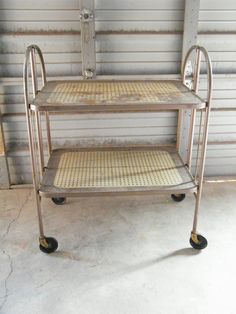 Vintage 2 Tier Folding Rolling Serving Cart Versa Table Stand On Casters