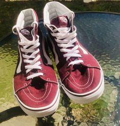 a5ca3118ac Details about Vans Maroon White Sk8-Hi High-Top Canvas Skate Signature  Waffle Men Shoe Size 12
