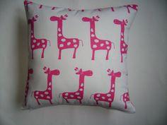 Nursery Candy Pink Girafes Pillow Cover, Girls Pillow Cover,  Nursery Decor Pillow Cover