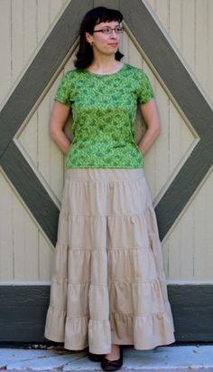 Tiered Cotton boho - Modest Mom Fashion style skirt