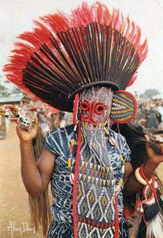 Africa | Bamileke Masquerader. Bana, Cameroon || Scanned postcard; published by Alain Denis. No.34