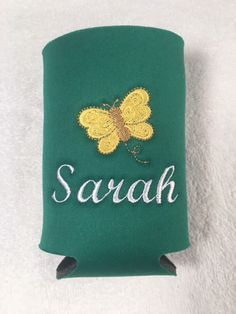 PERSONALIZED CAN COOLERS - 3 Sizes - Butterfly Design, Embroidered Can Coolers, Monogrammed Bottle Coolers, Personalized Cooler