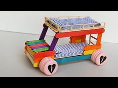 Popsicle stick Crafts - Bunk Bed Car Greeting everyone, today we will show you how to make a bunk bed car toys for kids from Popsicle . Look cool, right? Don't forget to try it. You can make it for fun or for other projects. With this popsicle Pop Stick Craft, Popsicle Stick Crafts House, Stick Art, Popsicle Sticks, Craft Stick Crafts, Popsicle Stick Birdhouse, Craft Stick Projects, Craft Sticks, Craft Ideas