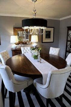 Dining room: Avondale (Macy\'s) table & bench with fabric chairs ...