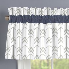 Window Treatment in Navy and Gray Deer by Carousel Designs.