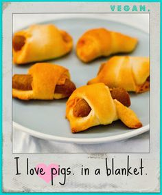 """Vegan Pigs in a Blanket Party Plate! aka, """"I Love Pigs. In a Blanket."""" I put these as everyday because I'm trying to fool myself into thinking I'd eat them in moderation. Vegan Potluck, Vegan Party Food, Vegan Food, Potluck Food, Potluck Dinner, Potluck Recipes, Party Recipes, Vegan Appetizers, Vegan Snacks"""
