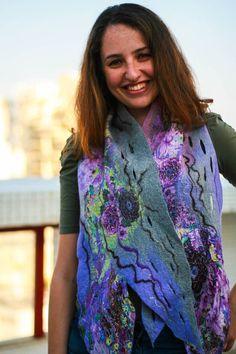 Scarf Felt scarf Felted scarf Merino wool by IreneCharmingFelt, $44.00