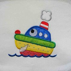 On The Move Boat Embroidered and Applique Quilt Block