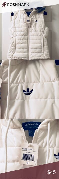 Adidas hooded vest Adidas fur hooded vest. Never worn tags on. Small stain on side of hood, can't been seen when hood is down. adidas Jackets & Coats Vests