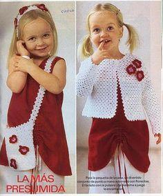 Ouro Crochet: Casaco e borsellina parágrafo Pequenas Senhora!