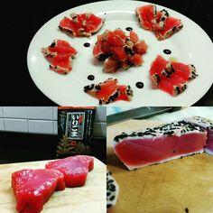 Amazing Tonno tataki con riduzione di aceto balsamico dop e soia tataki tuna with dripping of