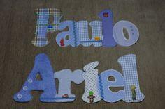 Nome em MDF, decorado com tecido 100% algodão e com o tema escolhido. Pode ser utilizado para decorar quarto, porta de maternidade e festa infantil. Faço nas cores e tamanhos desejados...