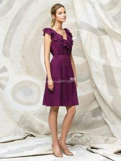 fashion purple cocktail length ruffle v-neck sleeveless a-line #bridesmaid dress with band       US$ 286.00 off US$142.60