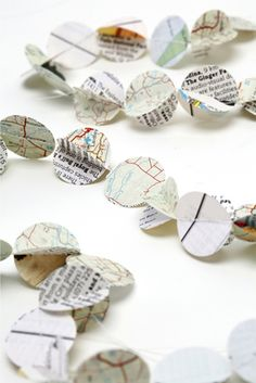 paper garland of circles- used pages
