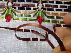 In this video, I have made 4 different types of leaves out of Satin Ribbon. I have used these leaves in almost all the flowers I have made so far. Types Of Embroidery, Silk Ribbon Embroidery, Hand Embroidery Designs, Cross Stitch Embroidery, Embroidery Patterns, Chicken Scratch Patterns, Swedish Weaving, Ribbon Art, Weaving Patterns