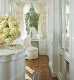 Dressing room...love the floors and all white contrast