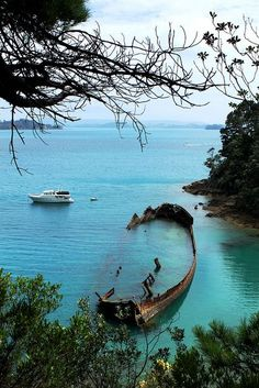 Shipwreck, Moturekareka Island, New Zealand  photo via candi
