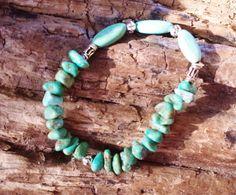 $37.75 Turquoise Stretch Bracelet Stacking Boho Yoga Gemstone Bracelet by BlueWorldTreasures