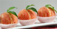 Peach Cookies with Custard Cream and Alkermes