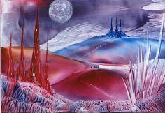 moonlight valley encaustic art painting one of mine