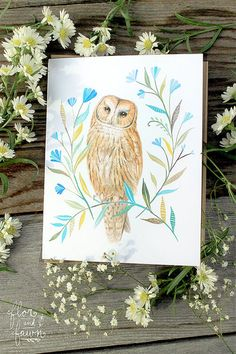 Owl watercolor painting by Flor and Fawn by friends Katie Daisy & Karen Eland.