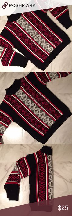 Vintage Oversized Grandpa Sweater! Amazing red, black, and white patterned vintage oversized sweater! Fits like a size medium! Perfect condition! Vintage Sweaters