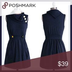 ModCloth Coach Tour Dress ➖BRAND: ModCloth ➖SIZE: Small ➖STYLE: Coach Tour Dress in navy blue with gold metal buttons as accents. The dress is just like new except the metal (buttons) has some wear to it (nothing but cosmetic and barely) but other than that, there is minimal- almost none -piling. ❌NO TRADE ModCloth Dresses