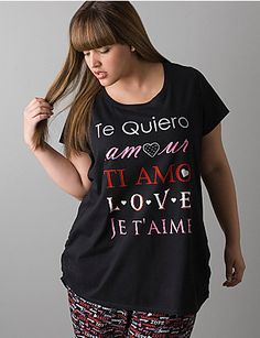 Sleep tee speaks the language of love with its rhinestone-embellished screen print. Short sleeves and scoop neckline. Wear with your favorite Cacique sleep bottoms for a coordinated look.    lanebryant.com