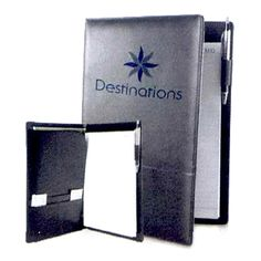 """Black leatherette stitched portfolio, 9.5"""" x 12.75"""".  Features three pockets, pen loop and memo pad.  Pen not included. Great for schools, offices and businesses. Perfect gift and giveaways in trade shows and conventions! Group Company, Company Logo, Trade Show Giveaways, Leather Portfolio, Realtor Gifts, House Gifts, Corporate Gifts, Mother Day Gifts, Diy Gifts"""