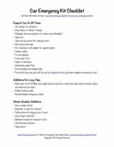 Free printable car emergency kit checklist with all the essentials you need to keep yourself and your family safe in case of emergency in the car {on Home Storage Solutions 101}