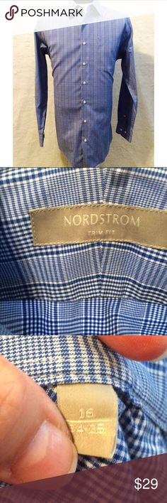Nordstrom Mens Blue & White Glen Plaid Shirt Nordstrom Glen Plaid Button Down Dress Shirt in Blue & White.  Slim Fit. 16 34-35 Nordstrom Shirts Dress Shirts