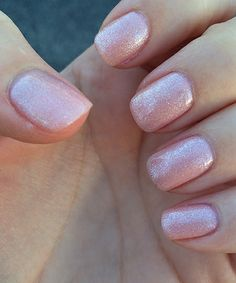 A sparkly gel mani. Fun for the summer, too. Pink Sparkle Nails, Pink Manicure, Gel Polish Colors, Nail Colors, Nail Polish, Heart Nails, Fabulous Nails, Cute Nail Designs, Nail Trends