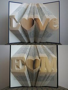 Folded Book Art -Stunning Word Pattern Folded Book Art -LOVE Pattern - Paper Anniversary Gift for Him or Her - Date - Unique Birthday Gift - Wedding Decoration - 6 Numbers -LOVE