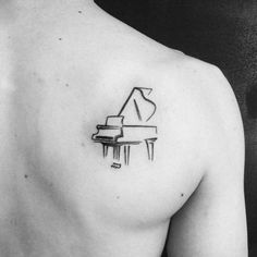 60 Piano Tattoos For Men - Music Instrument Ink Design Ideas, Tattoo, Small Simple Mens Sketched Piano Shoulder Blade Tattoos. Small Tattoos Men, Small Music Tattoos, Trendy Tattoos, Tattoos For Women, Cool Tattoos, Unique Tattoos, Girly Tattoos, Retro Tattoos, Mini Tattoos