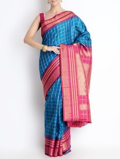 Buy Sky Blue Red Silk Zari Border Gadwal Saree Grandeur Cotton Sarees of Andhra Pradesh Online at Jaypore.com