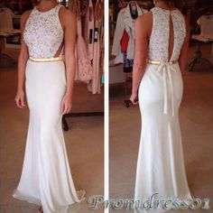 #promdress01 prom dresses, elegant white round neck sash sequins long prom dress,ball gown,occasion dress #prom2k15 #promdress -> www.promdress01.c... #coniefox #2016prom