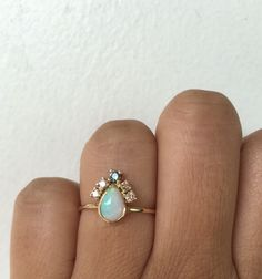 Opal Ring, Opal Engagement Ring, Opal Diamond Ring, One of a Kind Ring, Unique Engagement Ring, Pear Opal, Tear Drop Opal, Opal Wedding Ring by charlieandmarcelle on Etsy https://www.etsy.com/listing/271404237/opal-ring-opal-engagement-ring-opal