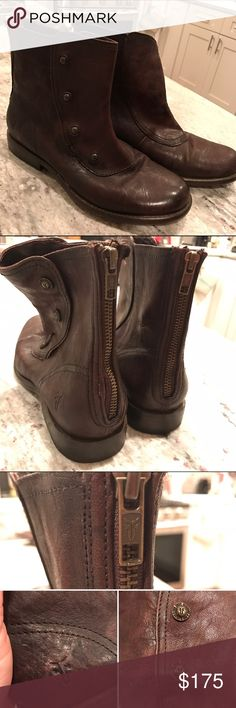 FRYE Phillip Military Zip Boots EUC brown leather FRYE Phillip Military Zip ankle boots. Zip up the back and cute buttons on the sides. Size 7.5. Frye Shoes Ankle Boots & Booties