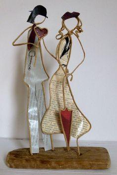 Les amoureux de la Saint-Valentin ! - figurines en ficelle de kraft armé et papiers originaux
