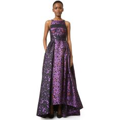 J. Mendel J. Mendel Ball Gown With Paneled Bodice Mulberry Noir ($1,470) ❤ liked on Polyvore featuring dresses, gowns, pleated dress, floral print dress, purple floral dress, purple gown and floral gown