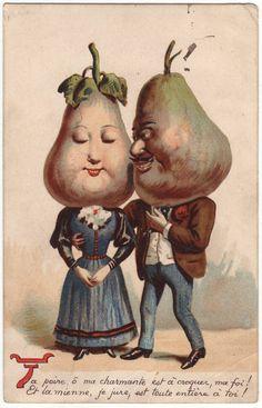 Anthropomorphic edwardian postcard  Pear head couple