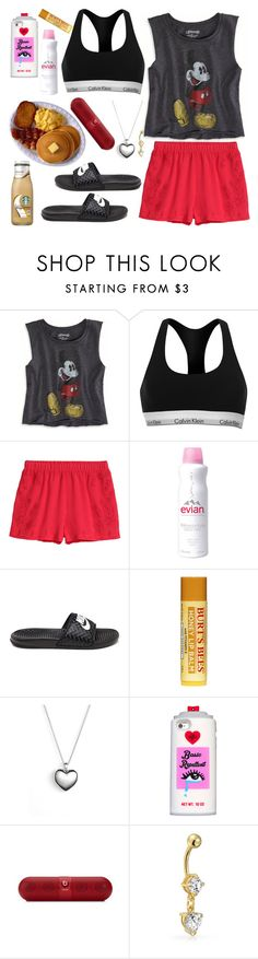 """Back And Forth by Aaliyah  #WhatsTodaysJam"" by cissylion ❤ liked on Polyvore featuring American Eagle Outfitters, Calvin Klein, H&M, Evian, NIKE, Pandora, Valfré and Bling Jewelry"