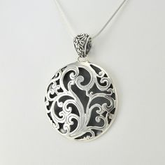 Sterling Silver Circle Scroll Bali Pendant