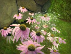A Lovely Garden by Karyn Robinson Oil Painting For Sale, Garden Painting, Old Wall, Flower Stands, Art For Sale, Original Art, Scene, Wall Art, Flowers