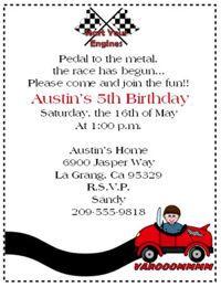 Race Car Party Invitation Race Car Party Invitation Printable