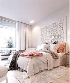 dream rooms for adults bedrooms - dream rooms . dream rooms for adults . dream rooms for women . dream rooms for couples . dream rooms for adults bedrooms . dream rooms for adults small spaces Dream Rooms, Dream Bedroom, Fantasy Bedroom, Camas King Size, King Size Bed Headboard, Bohemian Headboard, Bohemian Bedding, White Paneling, Deco Design